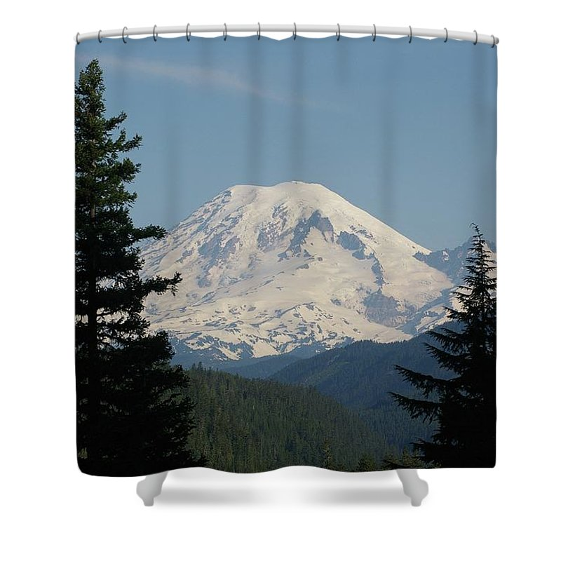 Mt Rainer Shower Curtain featuring the photograph Mt Rainer From The Hills In Packwood Wa by Jeff Swan