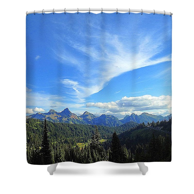 Cloud Shower Curtain featuring the photograph Mt. Rainier National Park by Sandra Peery