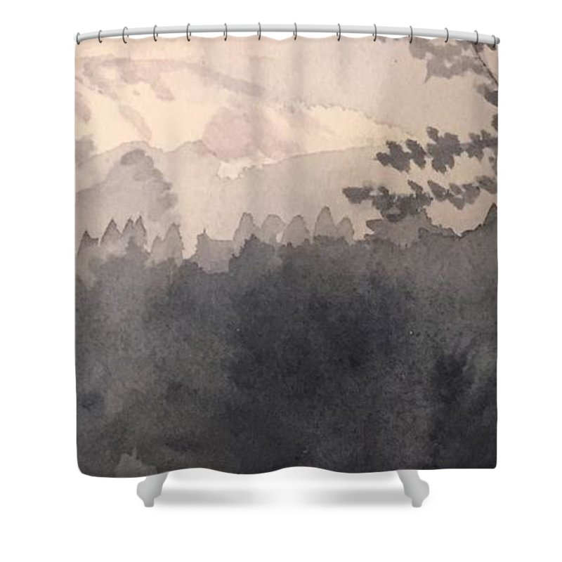 Landscape Shower Curtain featuring the painting Mt. Rainier, Wa by Joanne Dour