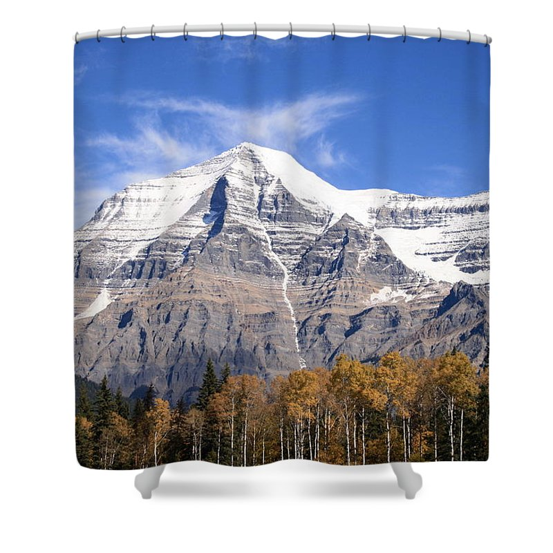 Rocky Mountain Shower Curtain featuring the photograph Mt. Robson- Canada's Tallest Peak by Tiffany Vest
