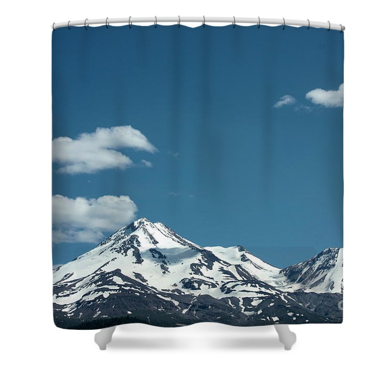 Cloud Shower Curtain featuring the photograph Mt Shasta With Heart-shaped Cloud by Carol Groenen