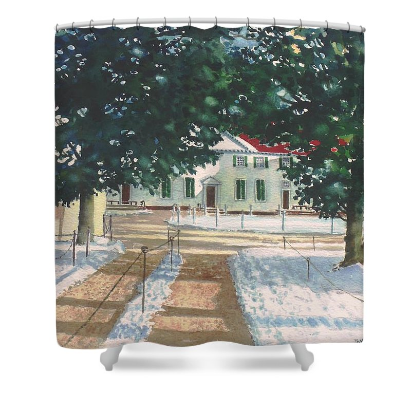 Landscape Shower Curtain featuring the painting Mt. Vernon After The Visitors Have All Gone Home by Tom Harris
