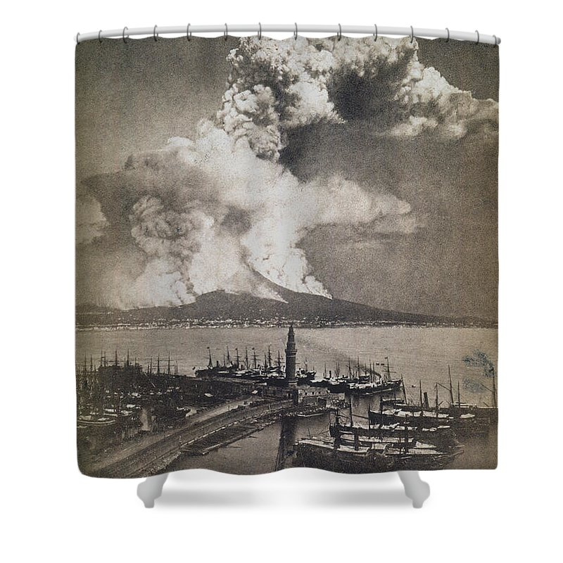 1872 Shower Curtain featuring the photograph Mt. Vesuvius Erupting by Granger