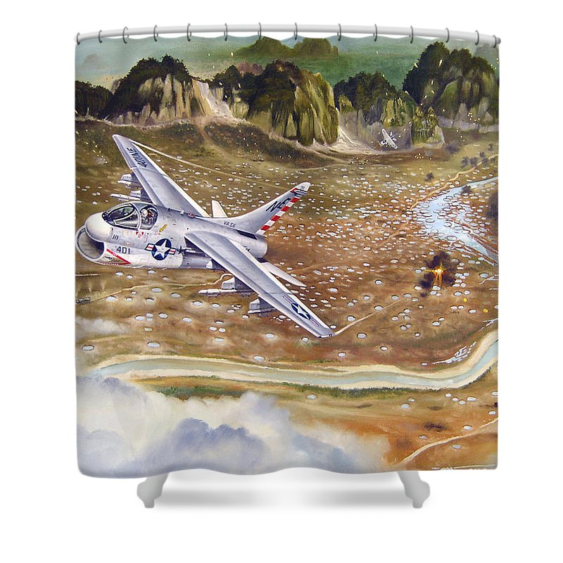 Aviation Shower Curtain featuring the painting Mu Gia Mayhem by Marc Stewart