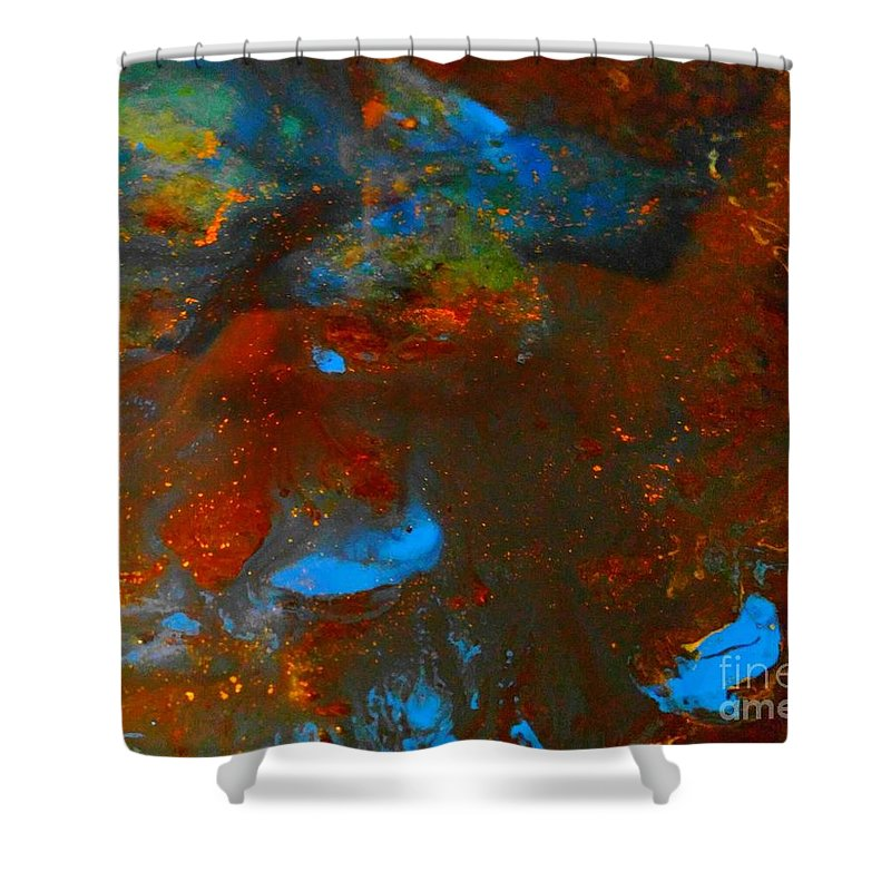 Water Shower Curtain featuring the mixed media Muddy Water by Nicky Williams