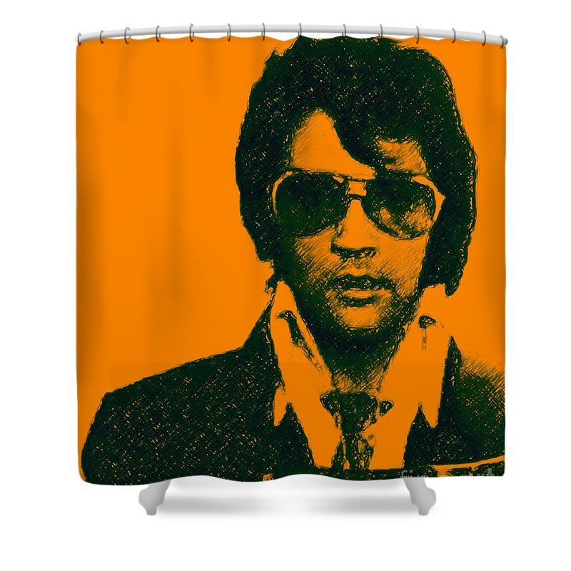 Elvis Presley Shower Curtain featuring the photograph Mugshot Elvis Presley by Wingsdomain Art and Photography