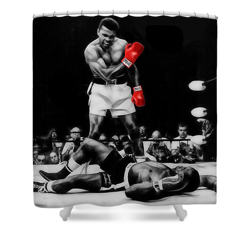 Sports Paintings Shower Curtain featuring the mixed media Muhammad Ali Art by Marvin Blaine