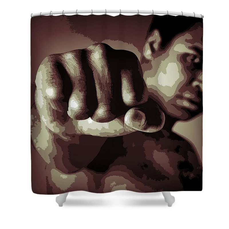 Muhammad Ali Fist Poster Shower Curtain featuring the digital art Muhammad Ali Fist Poster by Dan Sproul