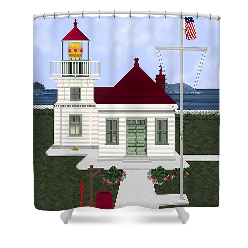 Lighthouse Shower Curtain featuring the painting Mukilteo Light by Anne Norskog