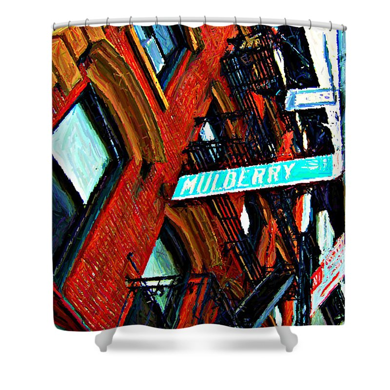 Little Italy Shower Curtain featuring the digital art Mulberry Street Sketch by Randy Aveille