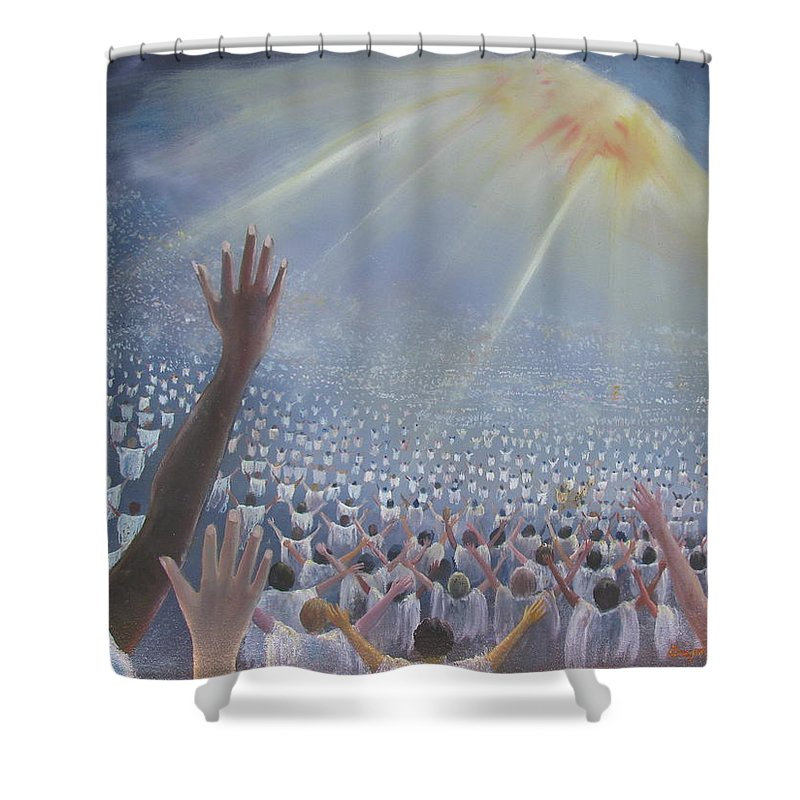 Heaven Shower Curtain featuring the painting Multitude Of Worshippers by Gregory Staton