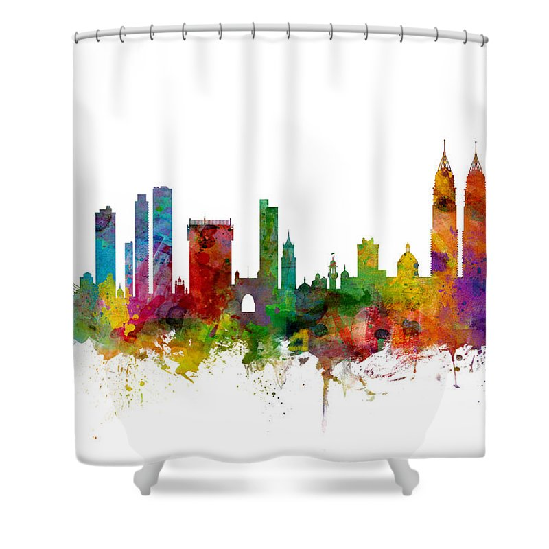Watercolour Shower Curtain Featuring The Digital Art Mumbai Skyline India Bombay By Michael Tompsett