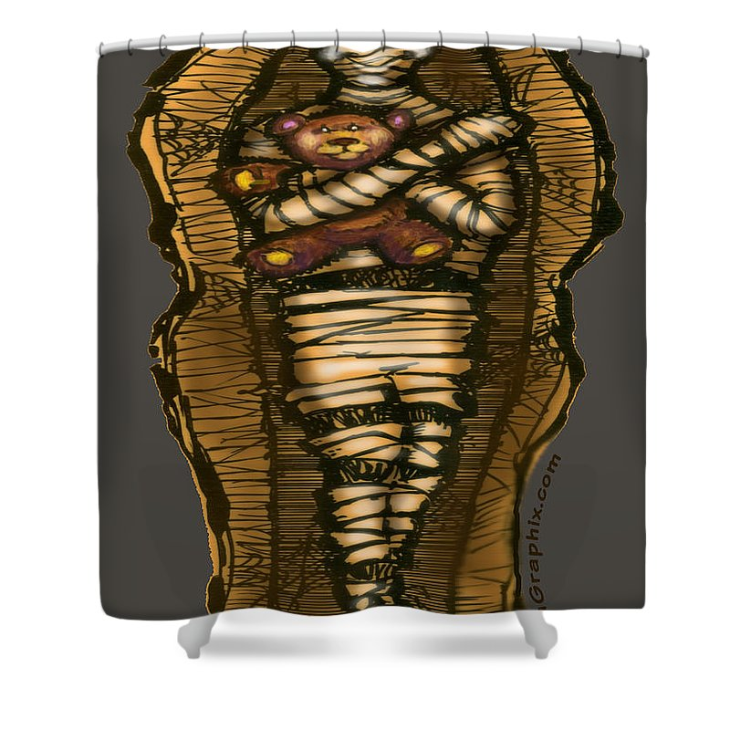 Halloween Shower Curtain featuring the greeting card Mummy And Teddy by Kevin Middleton