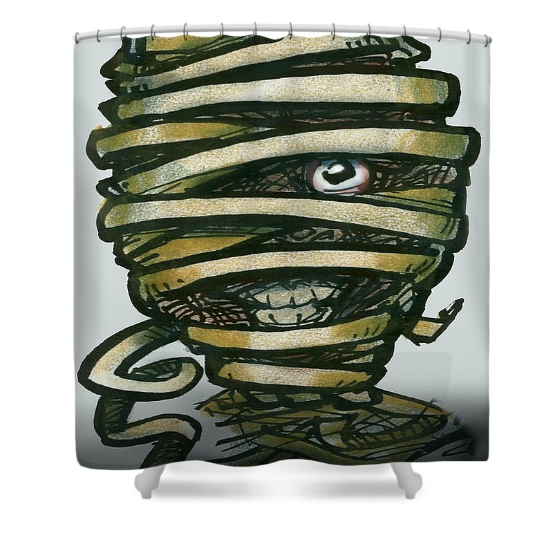 Mummy Shower Curtain featuring the greeting card Mummy by Kevin Middleton