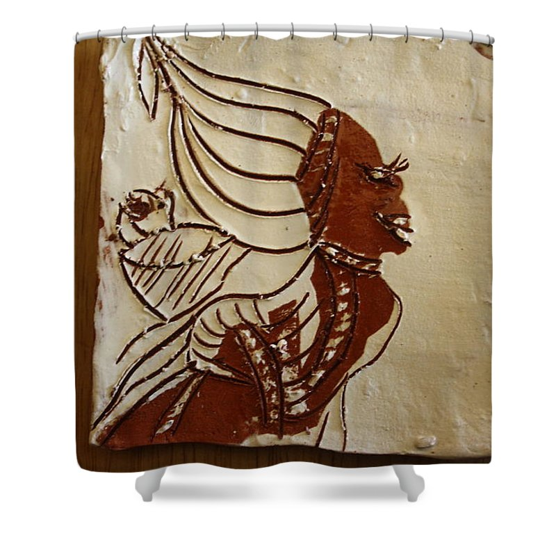 Jesus Shower Curtain featuring the ceramic art Mums Babe - Tile by Gloria Ssali