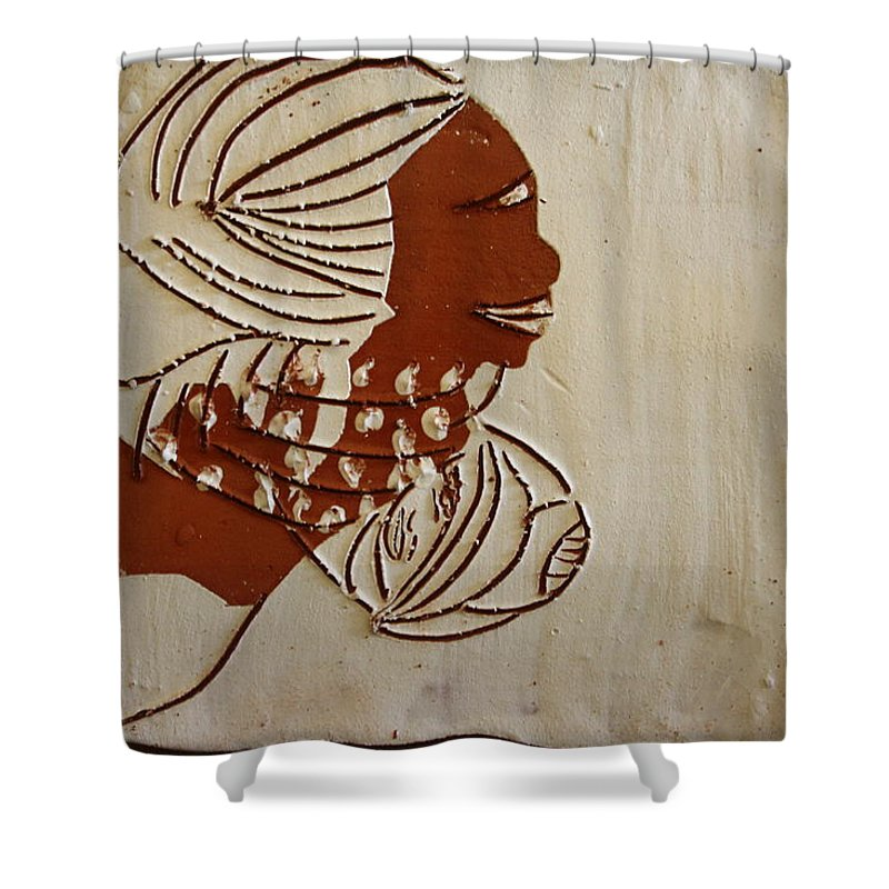 Jesus Shower Curtain featuring the ceramic art Mums Little Miracle - Tile by Gloria Ssali