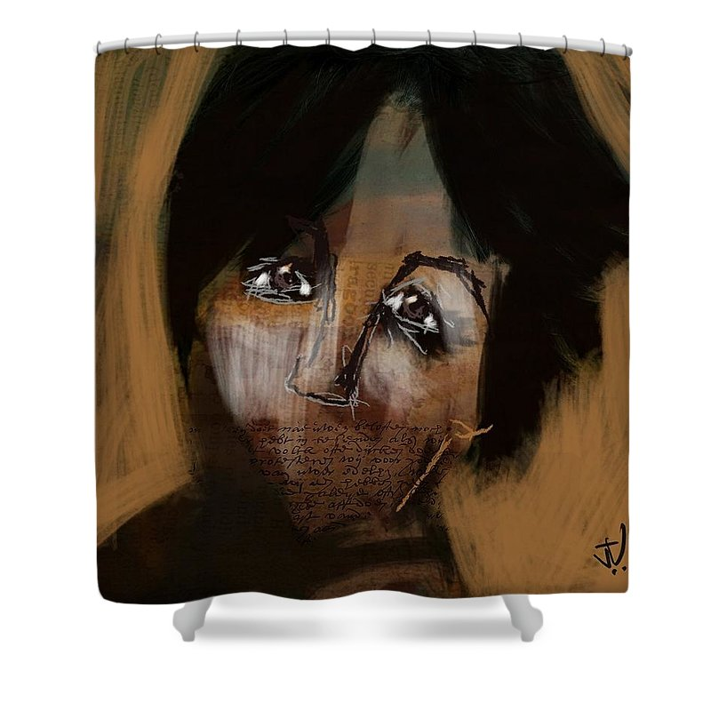 Portrait Shower Curtain featuring the digital art Mums The Word by Jim Vance