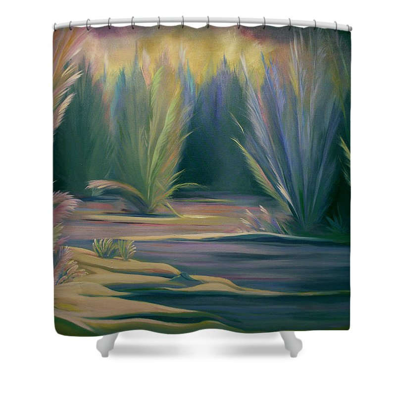 Feathers Shower Curtain featuring the painting Mural Field of Feathers by Nancy Griswold