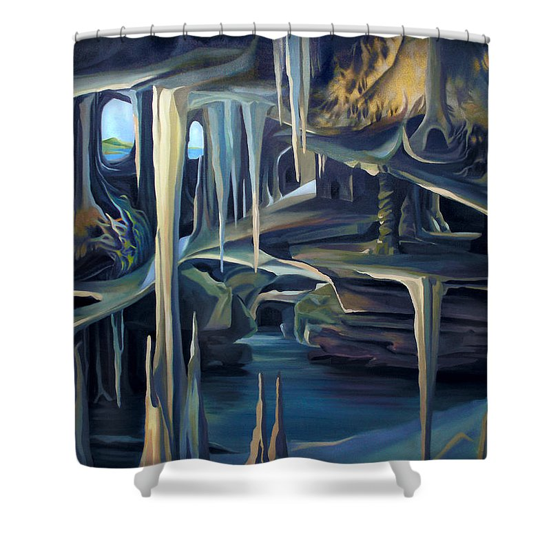 Mural Shower Curtain featuring the painting Mural Ice Monks In November by Nancy Griswold