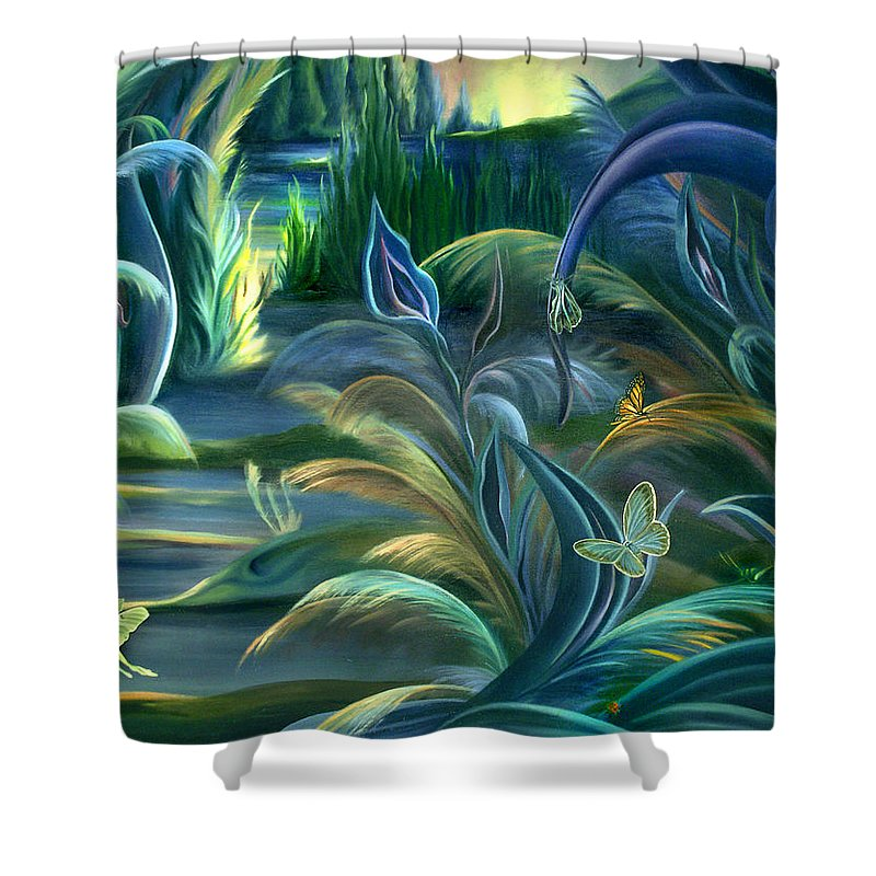 Mural Shower Curtain featuring the painting Mural Insects Of Enchanted Stream by Nancy Griswold