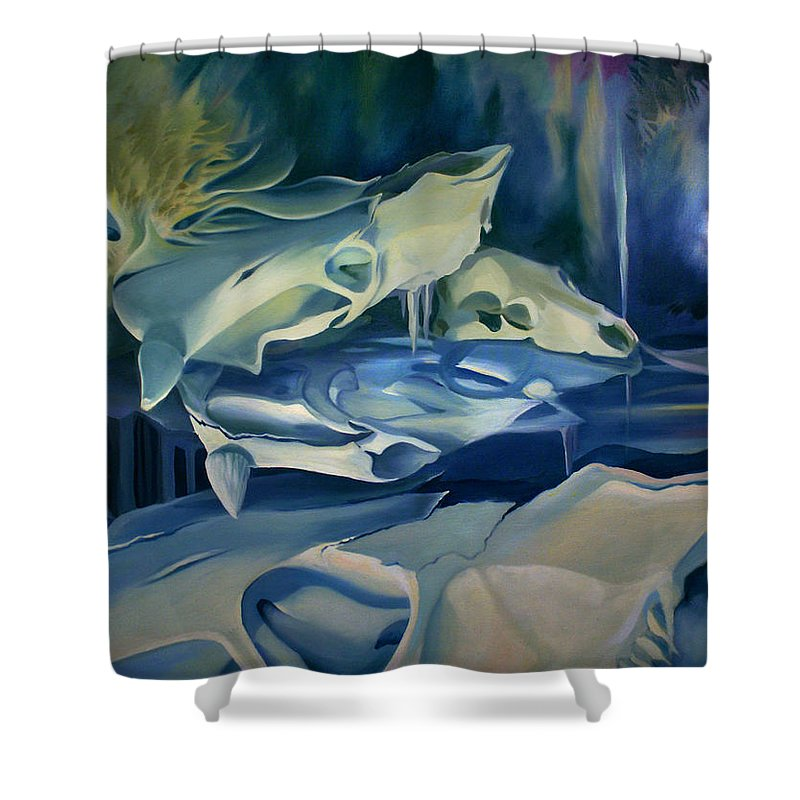 Surreal Shower Curtain featuring the painting Mural Skulls Of Lifes Past by Nancy Griswold