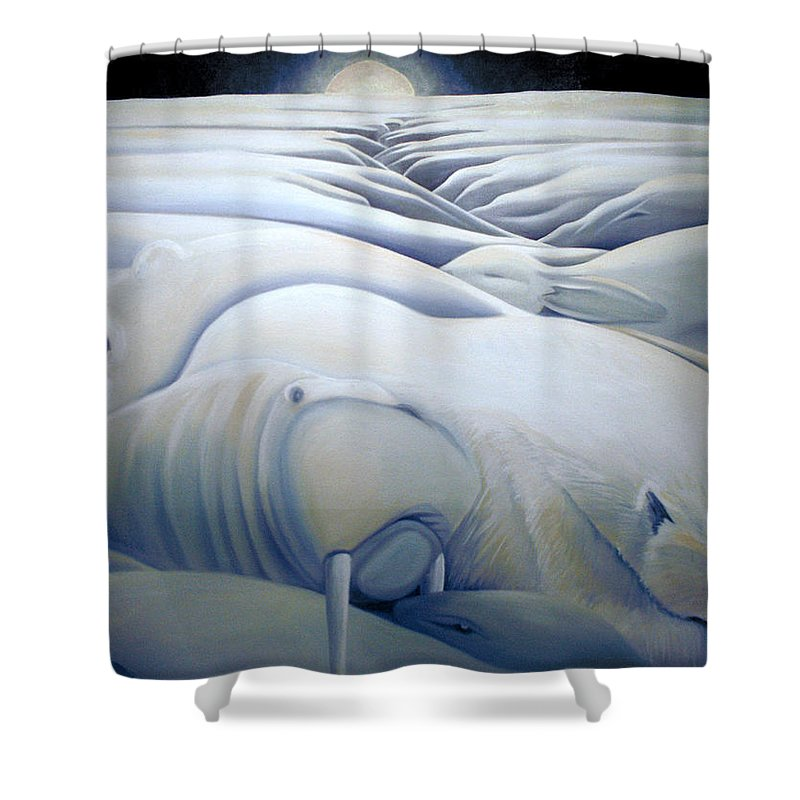Mural Shower Curtain featuring the painting Mural Winters Embracing Crevice by Nancy Griswold