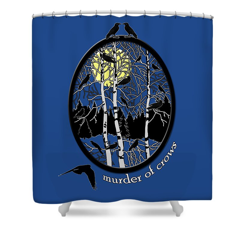 Murder Of Crows Shower Curtain featuring the digital art Murder Of Crows by Methune Hively