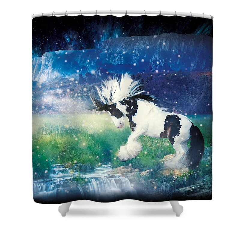 Horse Shower Curtain featuring the photograph Murphy's Dance by Jamie Mammano