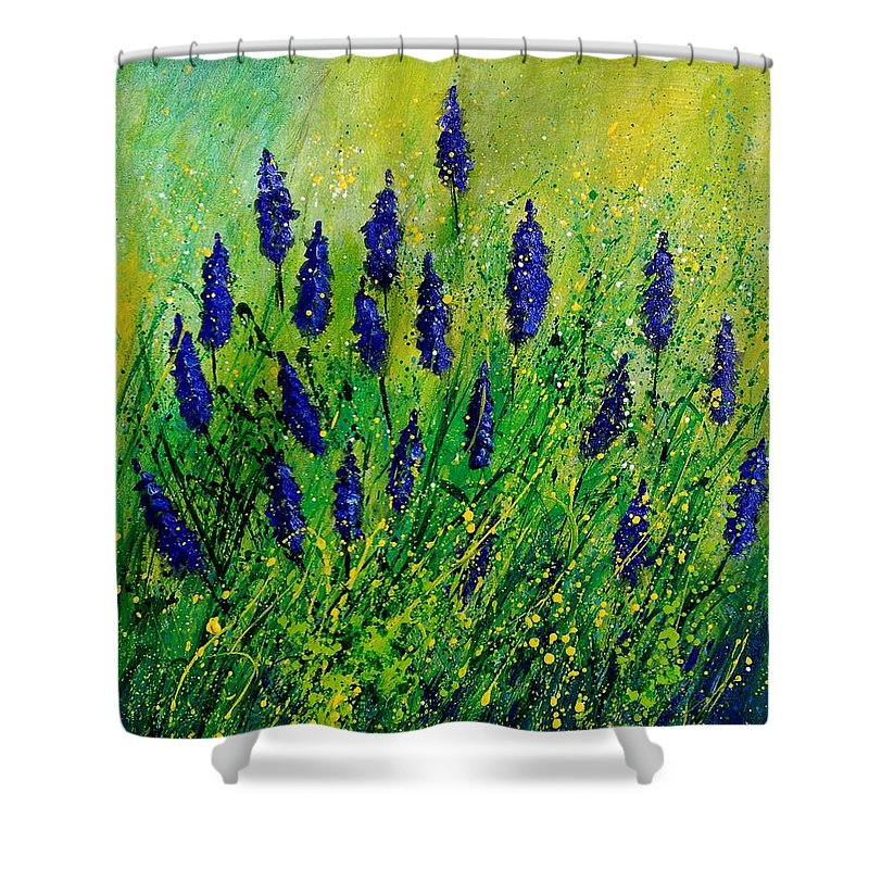 Flowers Shower Curtain featuring the painting Muscaris 4590 by Pol Ledent