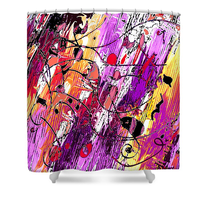 Abstract Shower Curtain featuring the digital art Muse Fragments by William Russell Nowicki