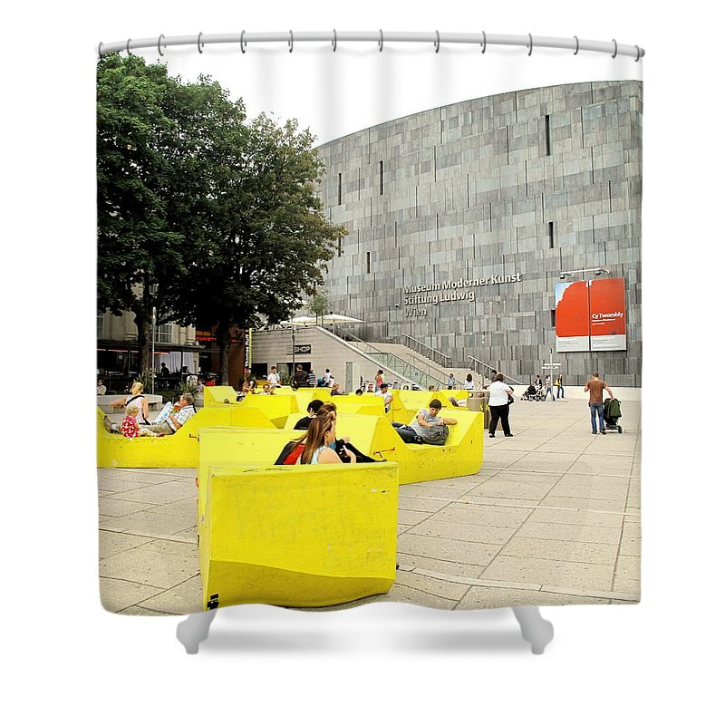 Museum Shower Curtain featuring the photograph Museum Modener Kunst by Ian MacDonald