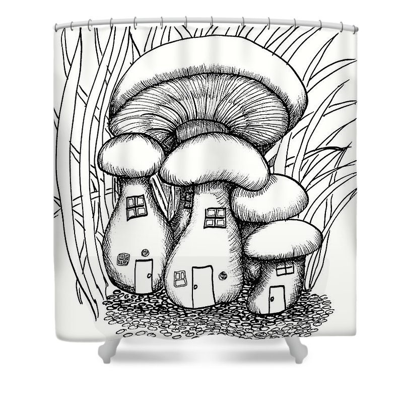 #dawndboyer Shower Curtain featuring the drawing Mushroom Fairy Houses And Grass by Dawn Boyer