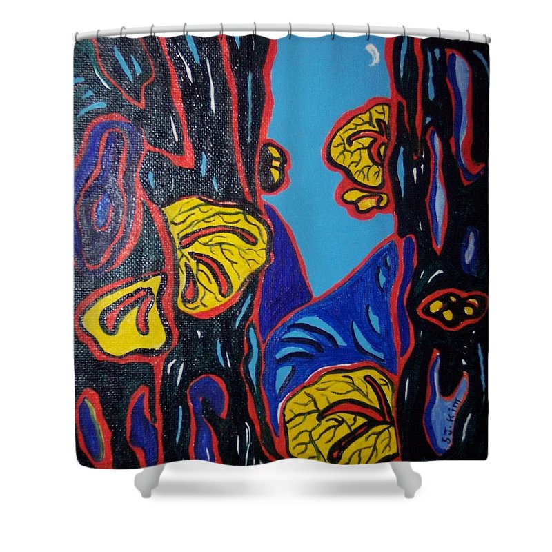 Abstract Paintings Shower Curtain featuring the painting Mushroom On Trees by Seon-Jeong Kim