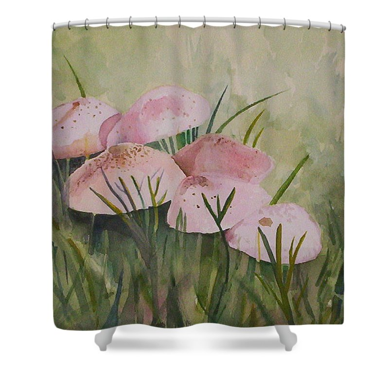 Landscape Shower Curtain featuring the painting Mushrooms by Suzanne Udell Levinger