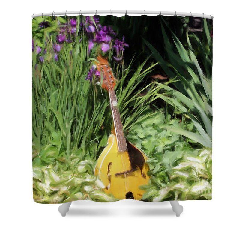 Mandolin Shower Curtain featuring the painting Music And Flowers by Smilin Eyes Treasures