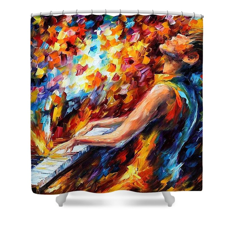 Afremov Shower Curtain featuring the painting Music Fight by Leonid Afremov