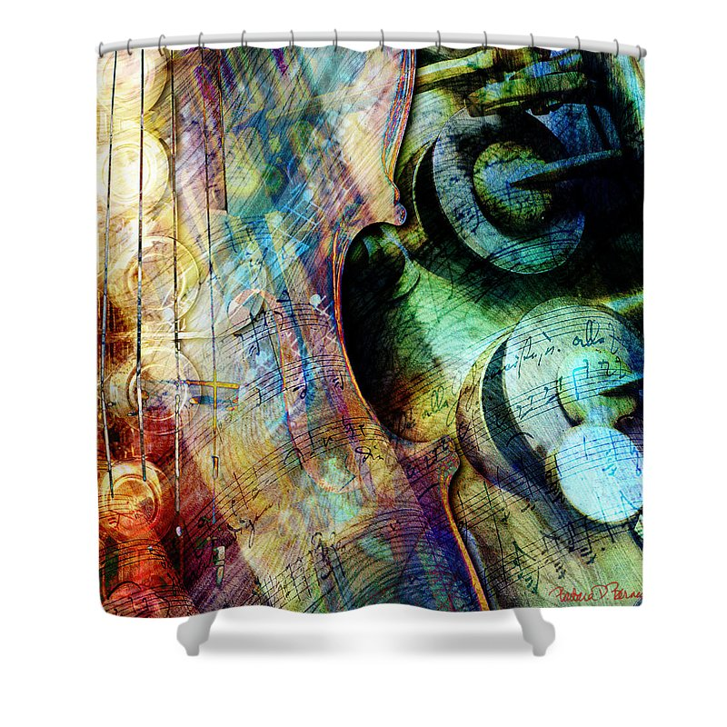 Strings Shower Curtain featuring the digital art Music II by Barbara Berney