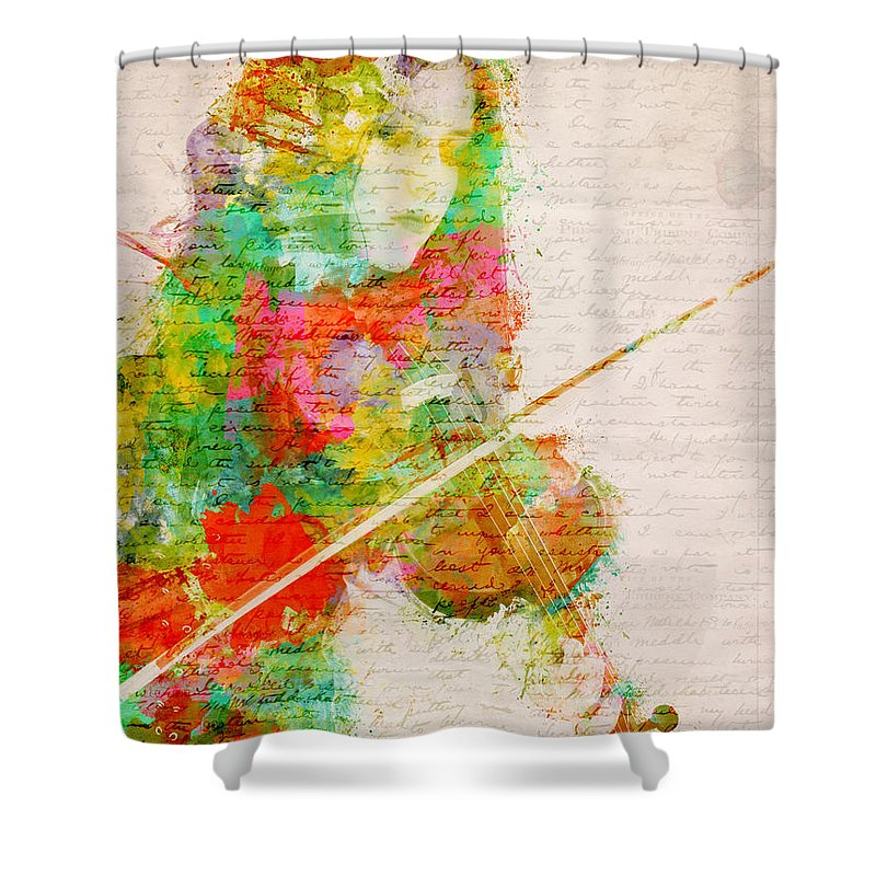 Violin Shower Curtain featuring the digital art Music In My Soul by Nikki Smith