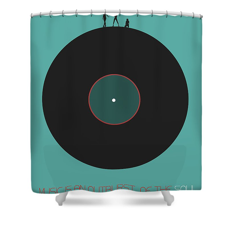 Vinyl Shower Curtain featuring the digital art Music is an outburst of the soul Poster by Naxart Studio