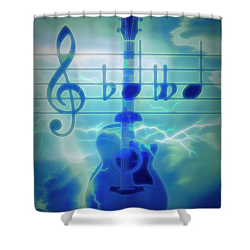 Folk Shower Curtain featuring the photograph Music Is Everything Lightning by Debra and Dave Vanderlaan