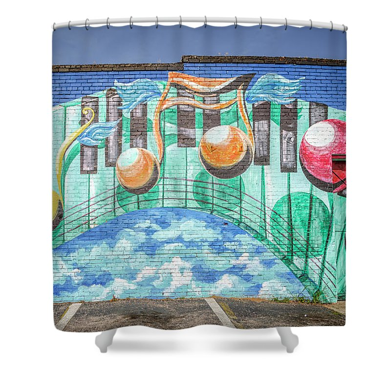 Joan Carroll Shower Curtain Featuring The Photograph Music Mural By