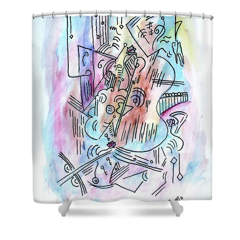 Abstract Shower Curtain featuring the painting Music by Robin Monroe