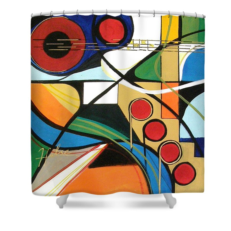 Music Shower Curtain featuring the painting Musical Abstract by Gina Hulse