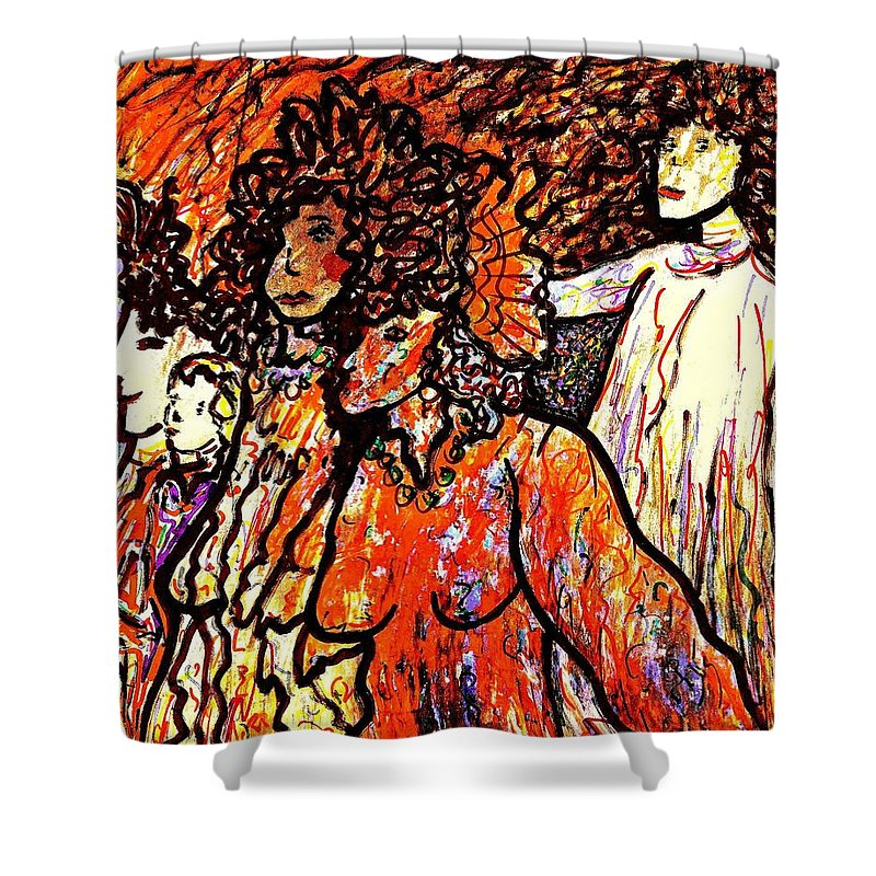 Figurative Art Shower Curtain featuring the painting Musical Recital by Natalie Holland