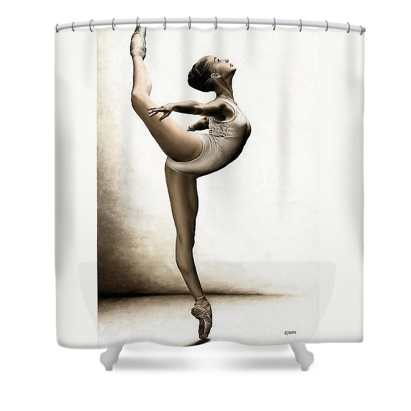 Dance Shower Curtain featuring the painting Musing Dancer by Richard Young