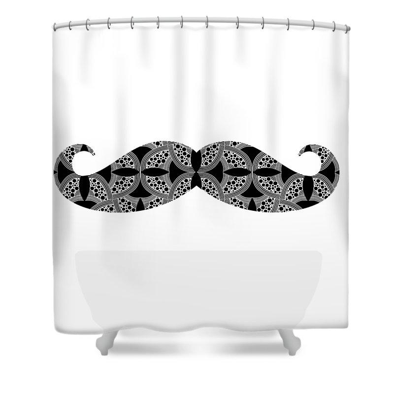 Mustache Shower Curtain featuring the digital art Mustache Tee by Edward Fielding