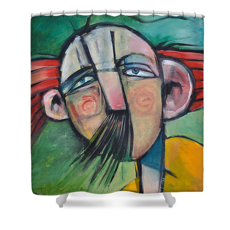 Humor Shower Curtain featuring the painting Mustached Man In Wind by Tim Nyberg