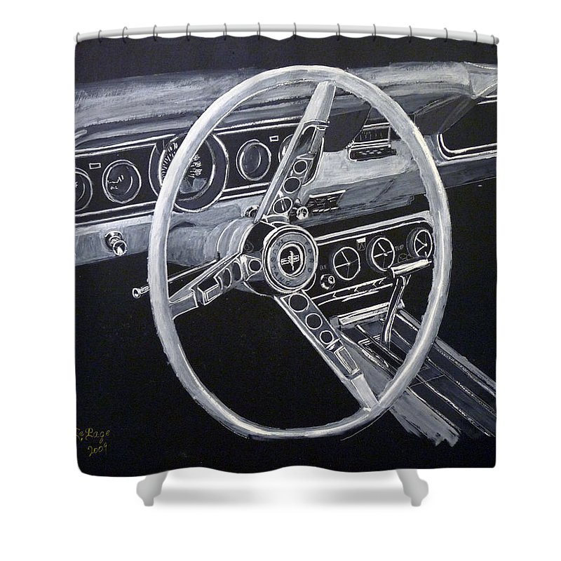 Mustang Shower Curtain featuring the painting Mustang Dash by Richard Le Page