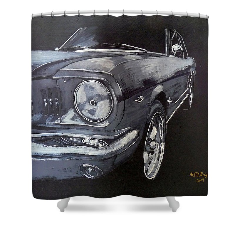 Mustang Shower Curtain featuring the painting Mustang Front by Richard Le Page