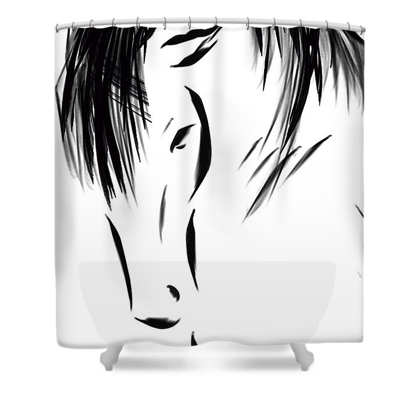 Horse Shower Curtain featuring the digital art Mustang II by Dreana Stenz